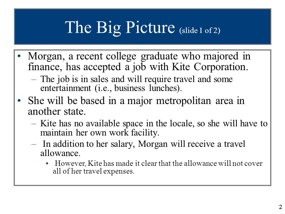 2 The Big Picture (slide 1 of 2) Morgan, a recent college graduate who majored in finance, has accepted a job with Kite Corporation.