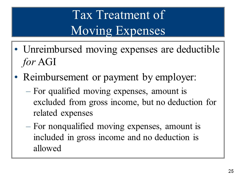 25 Tax Treatment of Moving Expenses Unreimbursed moving expenses are deductible for AGI Reimbursement or payment by employer: –For qualified moving expenses, amount is excluded from gross income, but no deduction for related expenses –For nonqualified moving expenses, amount is included in gross income and no deduction is allowed