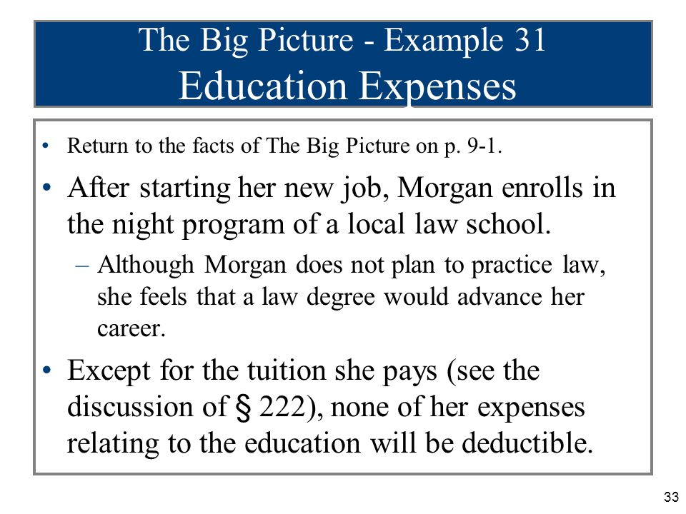 33 The Big Picture - Example 31 Education Expenses Return to the facts of The Big Picture on p.