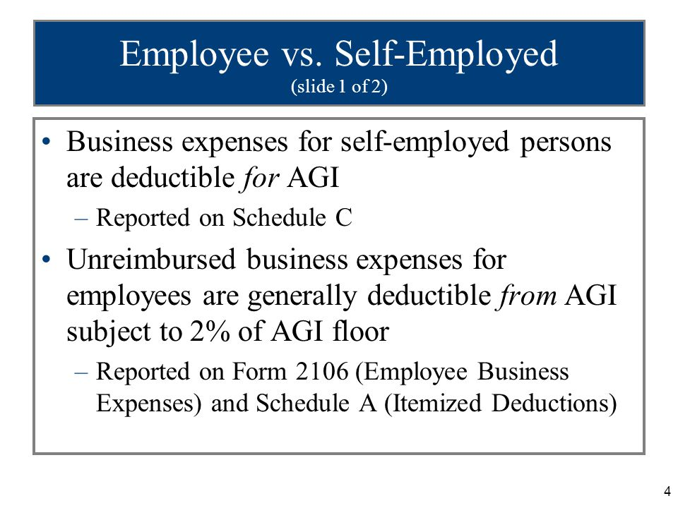 55 Unreimbursed Employee Expenses Expenses are deductible from AGI as miscellaneous itemized deductions subject to the 2% of AGI limitation –If employee could have received, but did not seek, reimbursement for whatever reason, none of the employment-related expenses are deductible