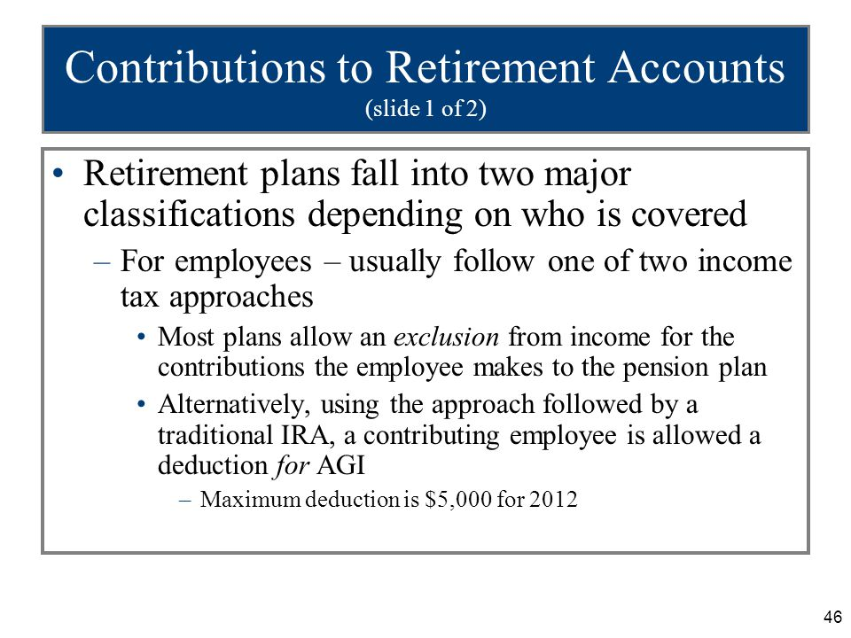 46 Contributions to Retirement Accounts (slide 1 of 2) Retirement plans fall into two major classifications depending on who is covered –For employees