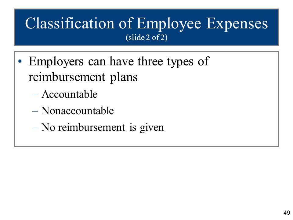49 Classification of Employee Expenses (slide 2 of 2) Employers can have three types of reimbursement plans –Accountable –Nonaccountable –No reimburse