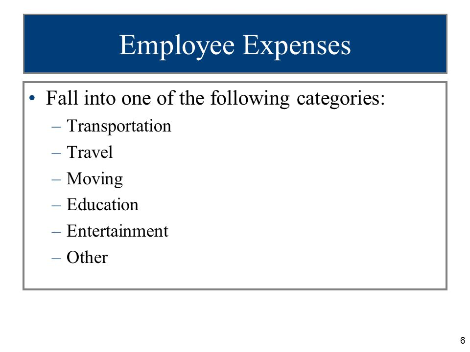 7 Transportation Expenses (slide 1 of 2) Transportation expense defined –Very limited, only from job site to job site and commuting to/from temporary work place –Commuting from home to work and back is nondeductible Exceptions: –Additional costs incurred to transport heavy tools –Employees with more than one job