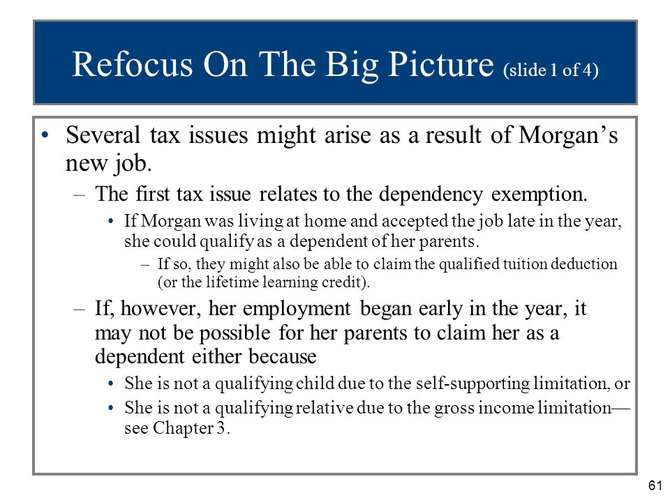 61 Refocus On The Big Picture (slide 1 of 4) Several tax issues might arise as a result of Morgan's new job.