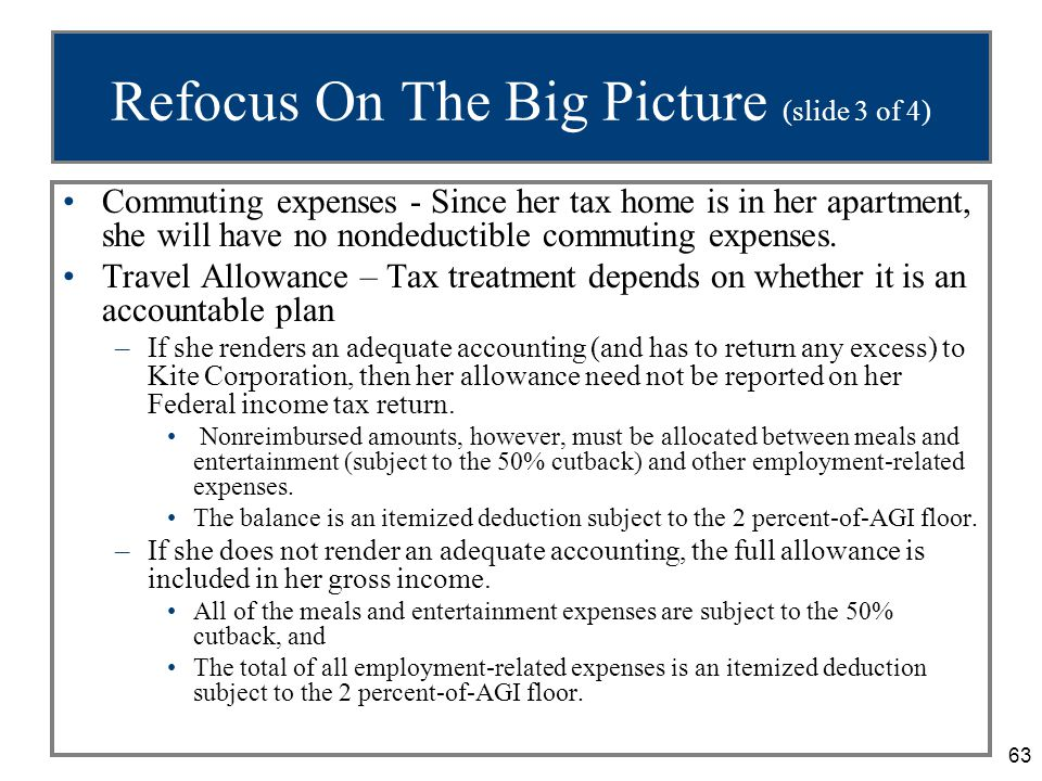 63 Refocus On The Big Picture (slide 3 of 4) Commuting expenses - Since her tax home is in her apartment, she will have no nondeductible commuting exp