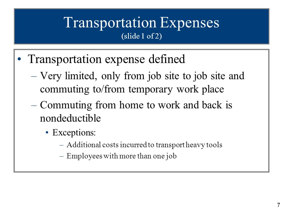 18 Combined Business/Pleasure Travel (slide 4 of 4) Travel days are considered business days Weekends, legal holidays and intervening days are business days if both the preceding and succeeding days are business days If trip is primarily for pleasure, no transportation expenses are deductible