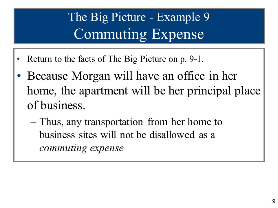 9 The Big Picture - Example 9 Commuting Expense Return to the facts of The Big Picture on p. 9-1. Because Morgan will have an office in her home, the
