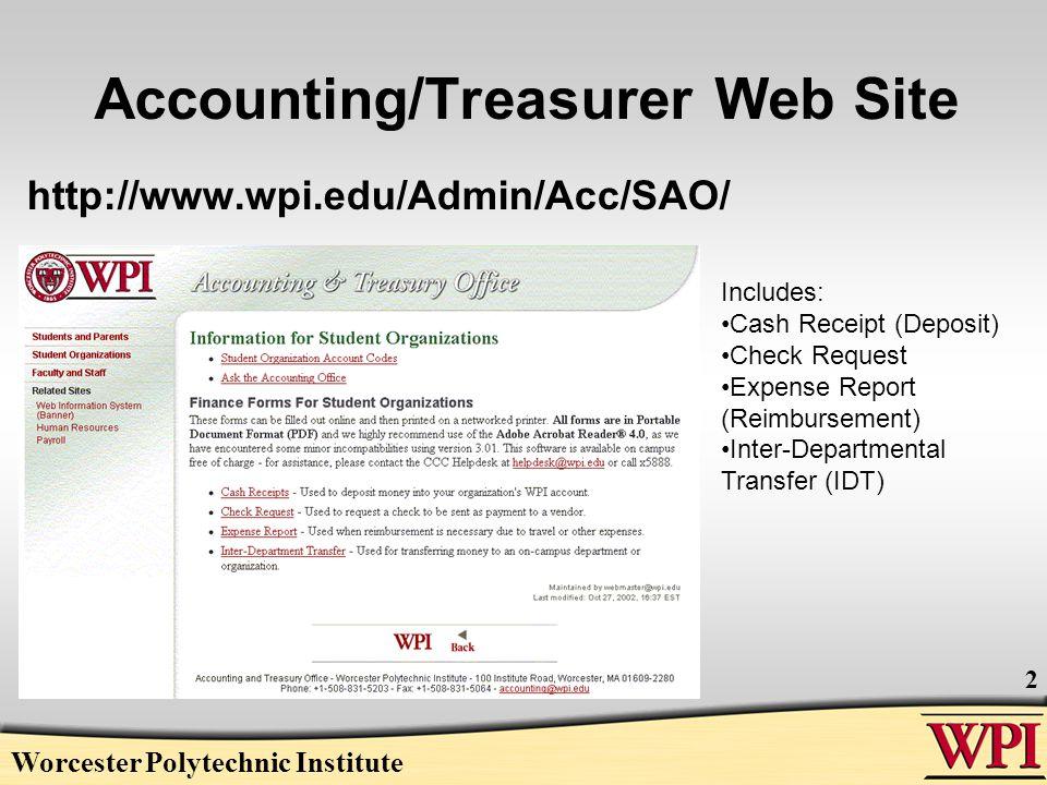 Worcester Polytechnic Institute 13 The Expense Reimbursement