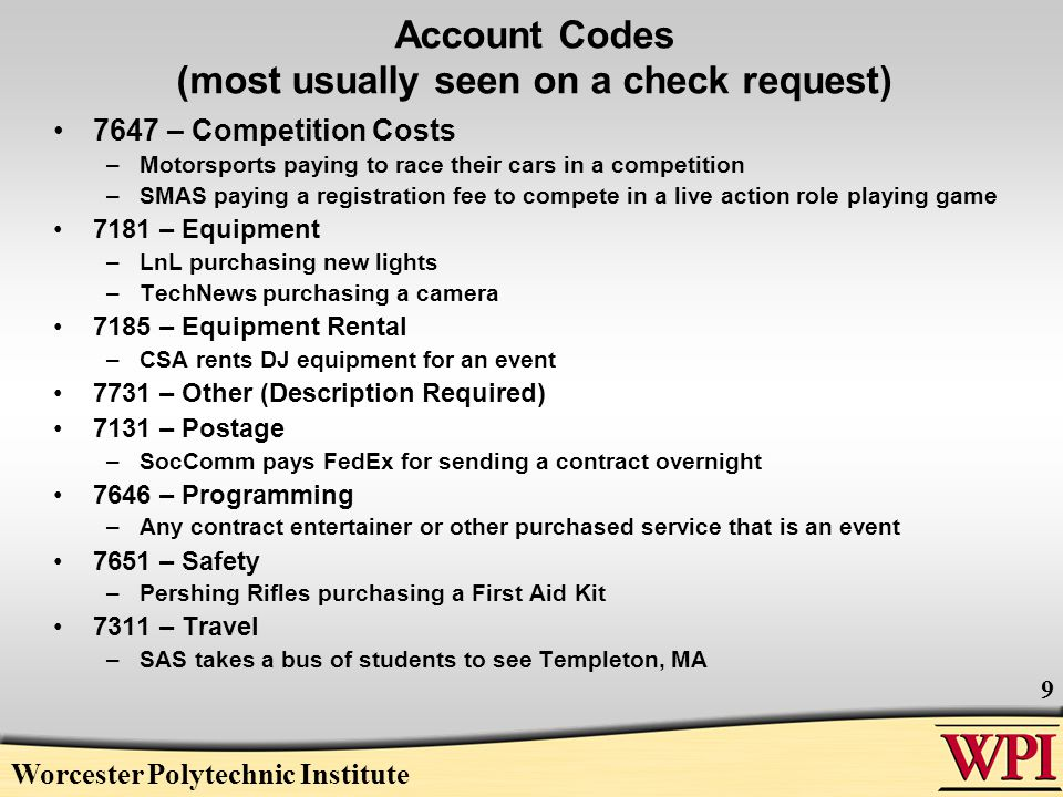 Worcester Polytechnic Institute 20 Cash Receipt Form (Deposits) Date: date deposit prepared Dept: your organization's name Prepared by: person who counted money SKIP SECTION I.