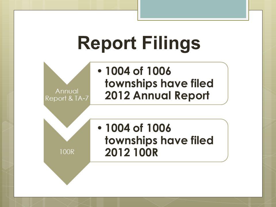 Report Filings Annual Report & TA-7 1004 of 1006 townships have filed 2012 Annual Report 100R 1004 of 1006 townships have filed 2012 100R