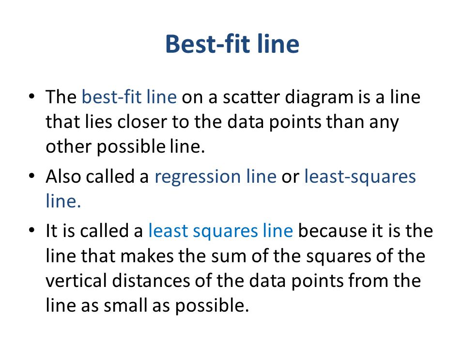 Best-fit line The best-fit line on a scatter diagram is a line that lies closer to the data points than any other possible line. Also called a regress