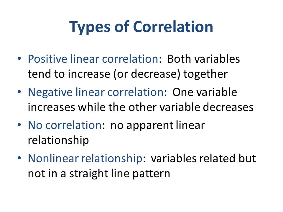 Types of Correlation Positive linear correlation: Both variables tend to increase (or decrease) together Negative linear correlation: One variable inc