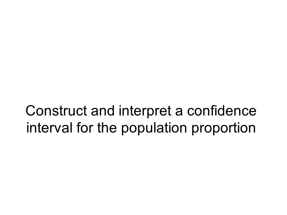 Construct and interpret a confidence interval for the population proportion