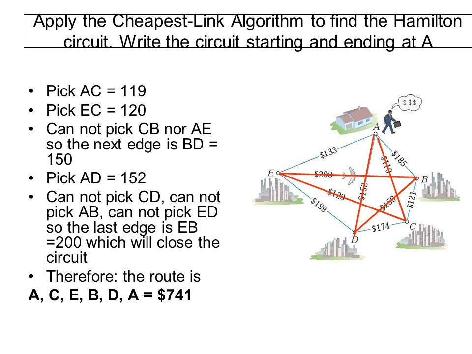 Apply the Cheapest-Link Algorithm to find the Hamilton circuit. Write the circuit starting and ending at A Pick AC = 119 Pick EC = 120 Can not pick CB