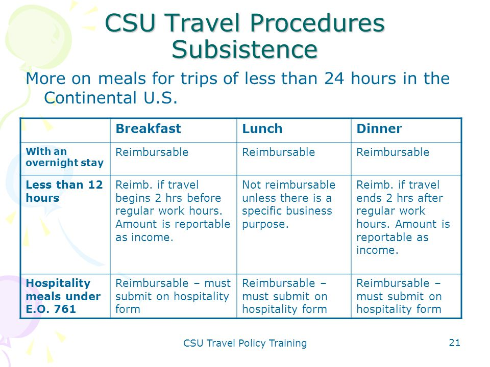 CSU Travel Policy Training 21 CSU Travel Procedures Subsistence More on meals for trips of less than 24 hours in the Continental U.S. BreakfastLunchDi