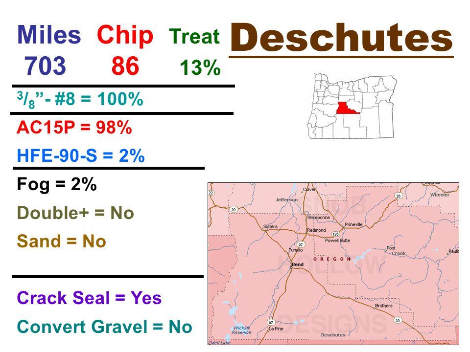 Deschutes Miles Chip Treat 703 86 13% 3 / 8 - #8 = 100% AC15P = 98% HFE-90-S = 2% Fog = 2% Double+ = No Sand = No Crack Seal = Yes Convert Gravel = No