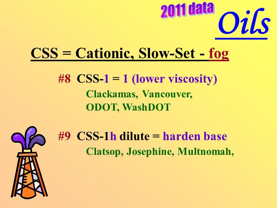 CSS = Cationic, Slow-Set - fog #8 CSS-1 = 1 (lower viscosity) Clackamas, Vancouver, ODOT, WashDOT #9 CSS-1h dilute = harden base Clatsop, Josephine, Multnomah, Oils