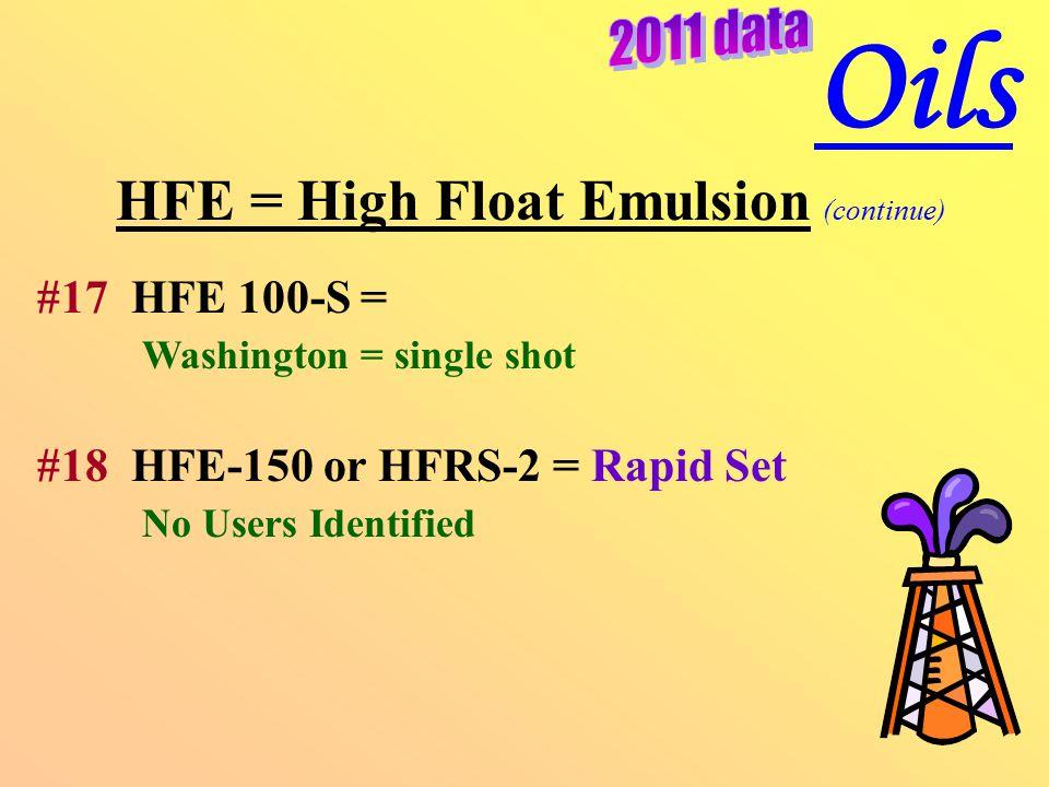 HFE = High Float Emulsion (continue) #17 HFE 100-S = Washington = single shot #18 HFE-150 or HFRS-2 = Rapid Set No Users Identified Oils