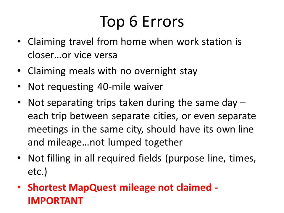 INCLUDE MAPQUEST Please remember to map 1-way, double that mileage, then round for your roundtrip mileage.