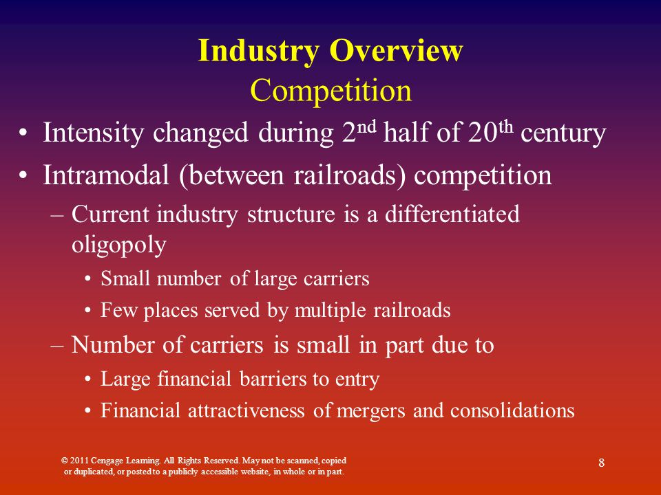 Industry Overview Competition Intensity changed during 2 nd half of 20 th century Intramodal (between railroads) competition –Current industry structu