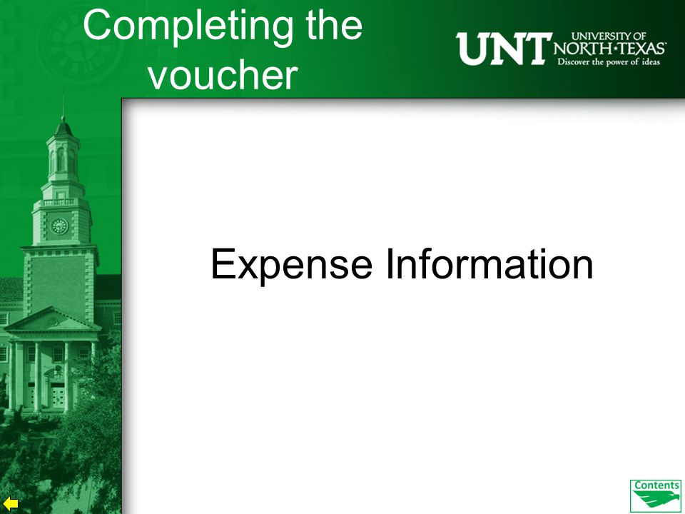 Expense Information Completing the voucher