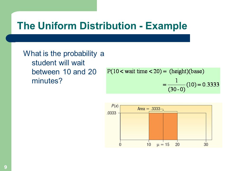9 The Uniform Distribution - Example What is the probability a student will wait between 10 and 20 minutes?