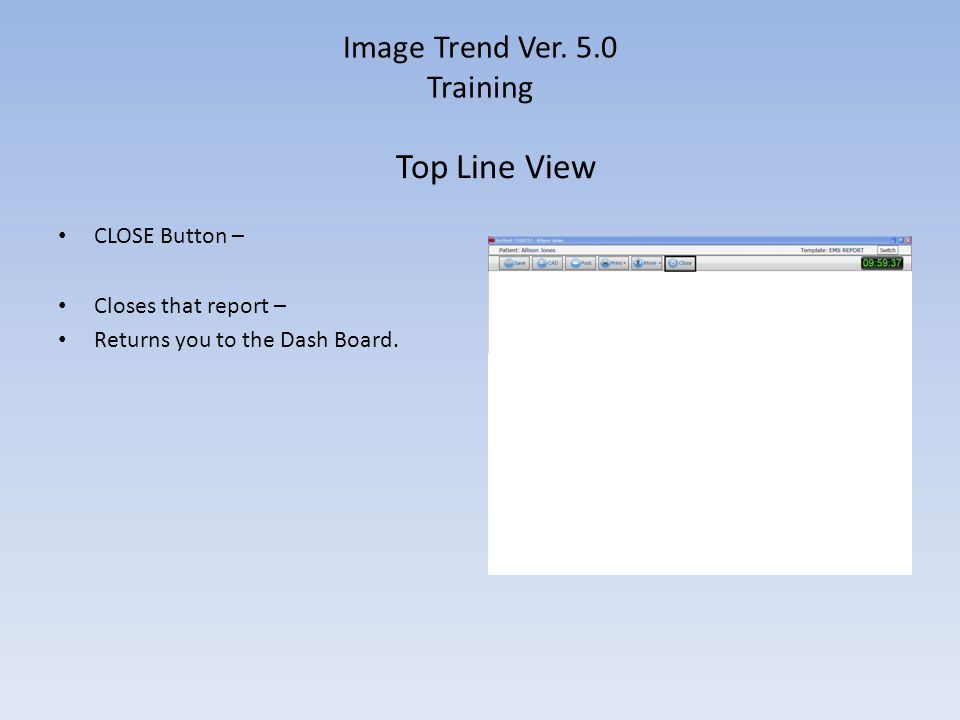 Image Trend Ver. 5.0 Training CLOSE Button – Closes that report – Returns you to the Dash Board. Top Line View