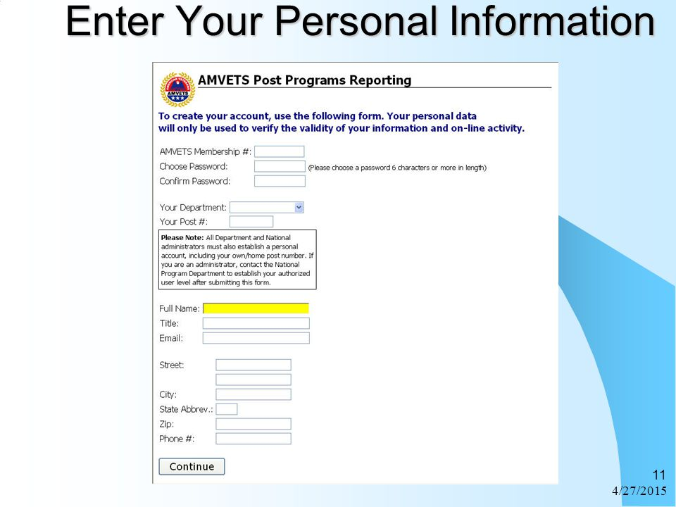 4/27/2015 11 Enter Your Personal Information