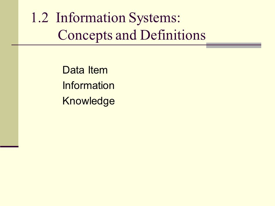 1.2 Information Systems: Concepts and Definitions Data Item Information Knowledge