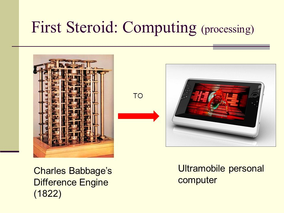 First Steroid: Computing (processing) TO Charles Babbage's Difference Engine (1822) Ultramobile personal computer
