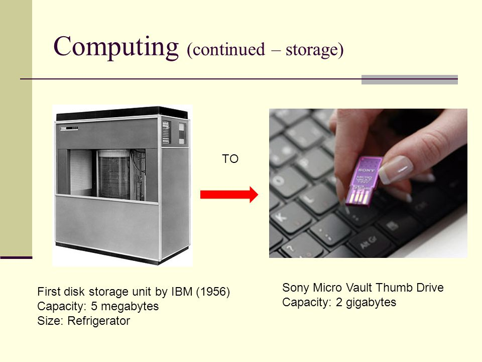 Computing (continued – storage) TO First disk storage unit by IBM (1956) Capacity: 5 megabytes Size: Refrigerator Sony Micro Vault Thumb Drive Capacit