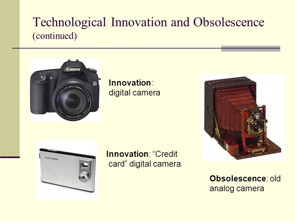 "Technological Innovation and Obsolescence (continued) Innovation: digital camera Innovation: ""Credit card"" digital camera Obsolescence: old analog cam"
