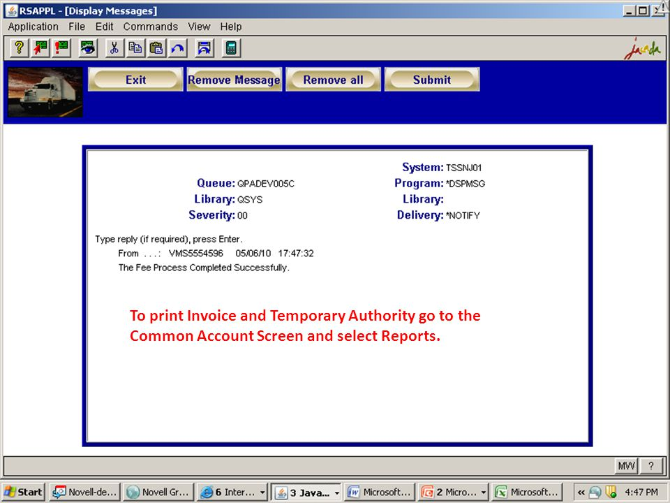 To print Invoice and Temporary Authority go to the Common Account Screen and select Reports.