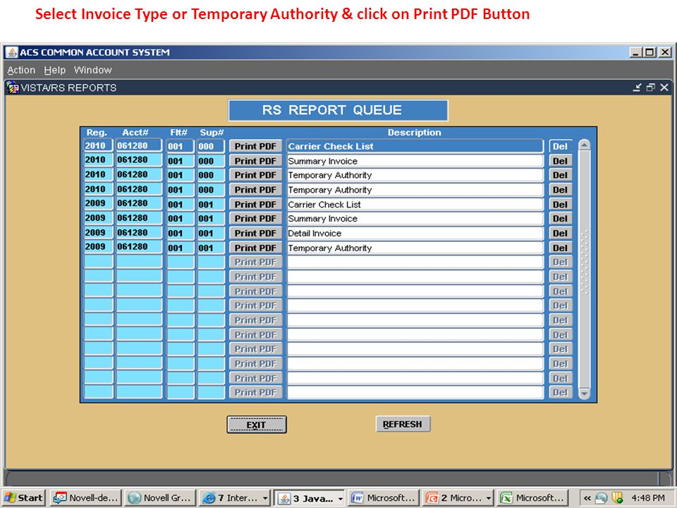 Select Invoice Type or Temporary Authority & click on Print PDF Button