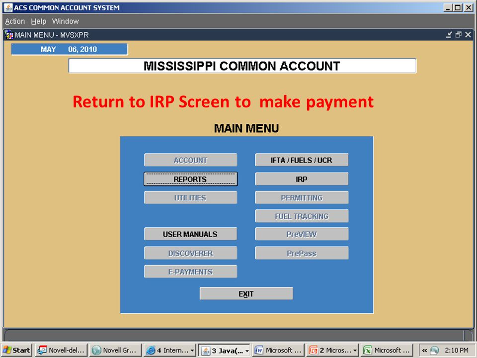 Return to IRP Screen to make payment