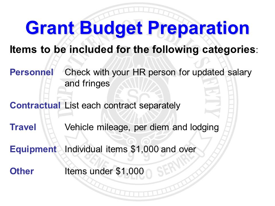 Grant Budget Preparation Items to be included for the following categories : Personnel Check with your HR person for updated salary and fringes ContractualList each contract separately TravelVehicle mileage, per diem and lodging EquipmentIndividual items $1,000 and over OtherItems under $1,000