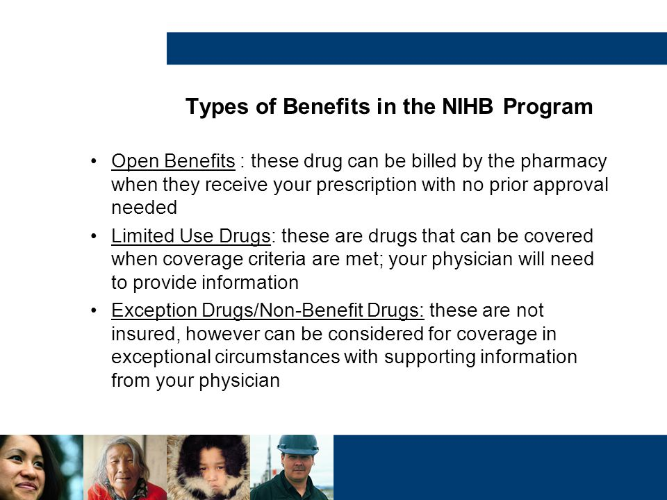 Types of Benefits in the NIHB Program Open Benefits : these drug can be billed by the pharmacy when they receive your prescription with no prior appro