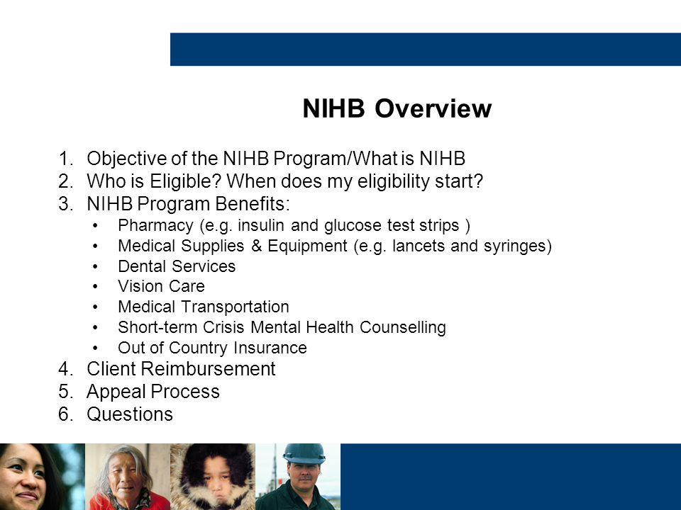 NIHB Overview 1.Objective of the NIHB Program/What is NIHB 2.Who is Eligible? When does my eligibility start? 3.NIHB Program Benefits: Pharmacy (e.g.