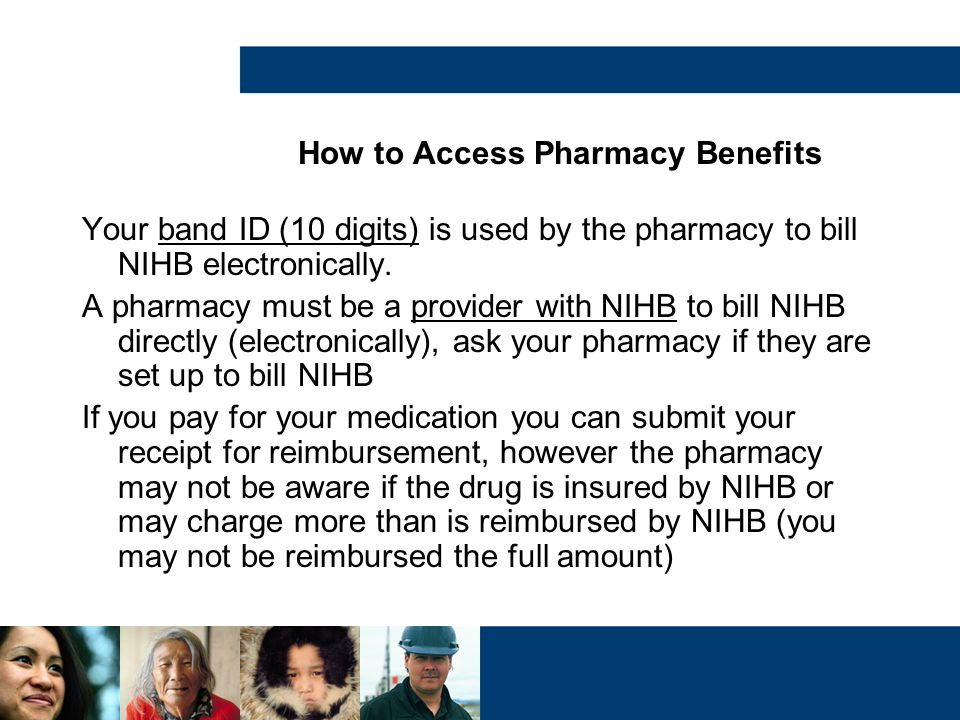 How to Access Pharmacy Benefits Your band ID (10 digits) is used by the pharmacy to bill NIHB electronically. A pharmacy must be a provider with NIHB