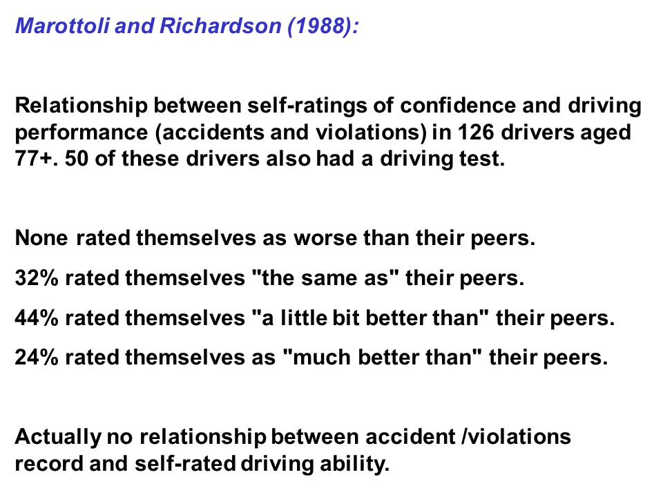 Marottoli and Richardson (1988): Relationship between self-ratings of confidence and driving performance (accidents and violations) in 126 drivers aged 77+.