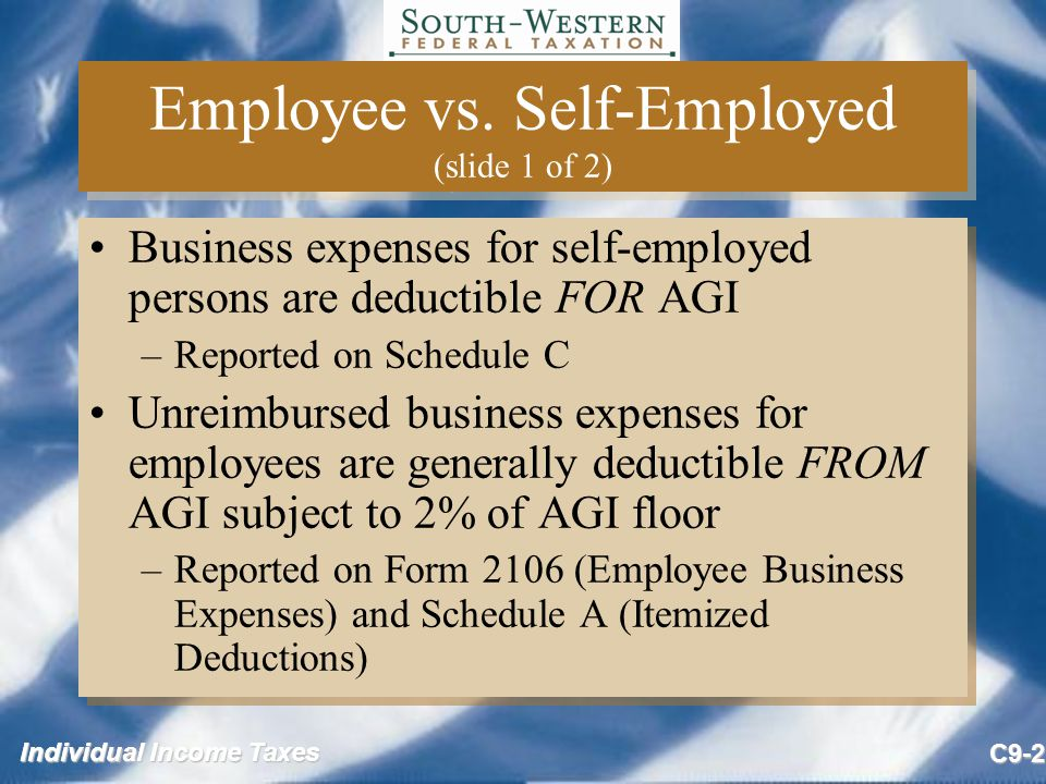 Individual Income Taxes C9-33 Restrictions on Entertainment Expenses (slide 3 of 3) Business gifts –Business gifts of tangible personalty with a value of $25 or less per person per year are deductible Incidental costs (e.g., gift-wrapping) are not included in the cost of the gift in applying the limit –If the value is $4 or less (e.g., pen with company name) then not subject to $25 limit Gifts to employers or superiors are not deductible Business gifts –Business gifts of tangible personalty with a value of $25 or less per person per year are deductible Incidental costs (e.g., gift-wrapping) are not included in the cost of the gift in applying the limit –If the value is $4 or less (e.g., pen with company name) then not subject to $25 limit Gifts to employers or superiors are not deductible