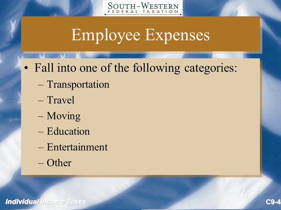 Individual Income Taxes C9-5 Transportation Expenses (slide 1 of 2) Transportation expense defined –Very limited, only from job site to job site and commuting to/from temporary work place –Commuting from home to work and back is nondeductible Exceptions: –Additional costs incurred to transport heavy tools –Employees with more than one job Transportation expense defined –Very limited, only from job site to job site and commuting to/from temporary work place –Commuting from home to work and back is nondeductible Exceptions: –Additional costs incurred to transport heavy tools –Employees with more than one job