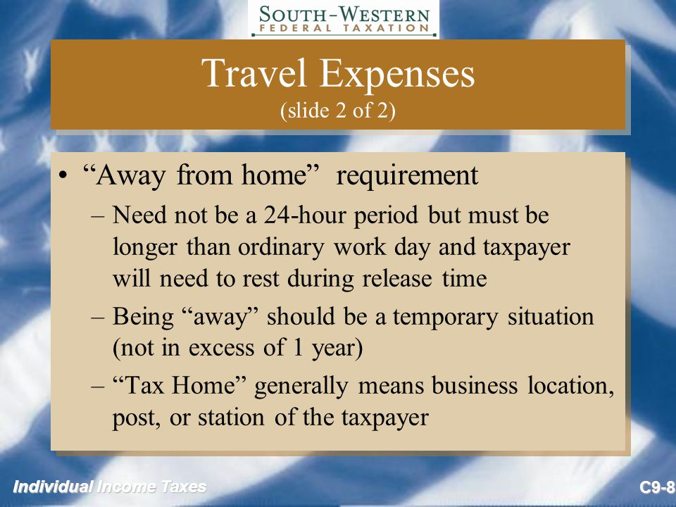 Individual Income Taxes C9-19 Moving Expenses - Time Test (slide 2 of 2) If time test not met during taxable year, two alternatives: –Take the deduction in year moved.