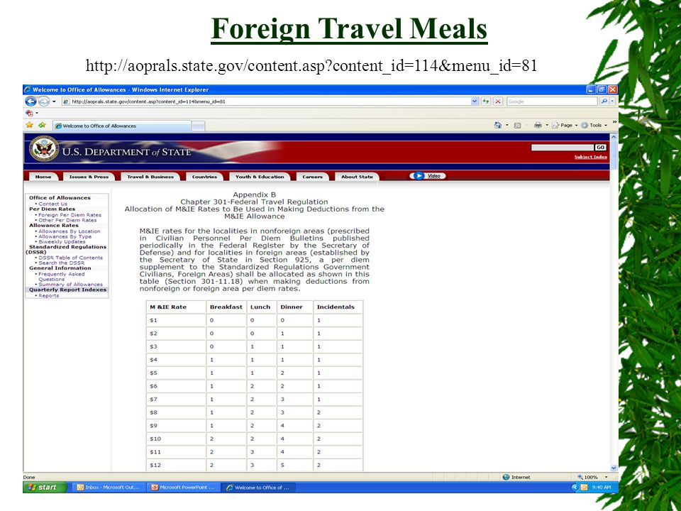 14 Foreign Travel Meals http://aoprals.state.gov/content.asp?content_id=114&menu_id=81