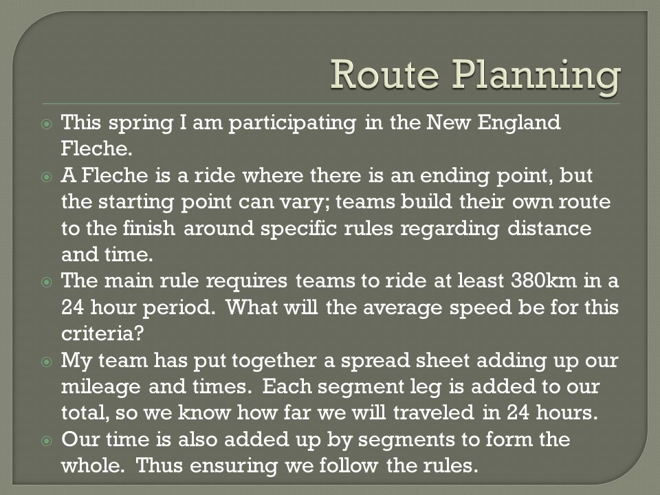  This spring I am participating in the New England Fleche.