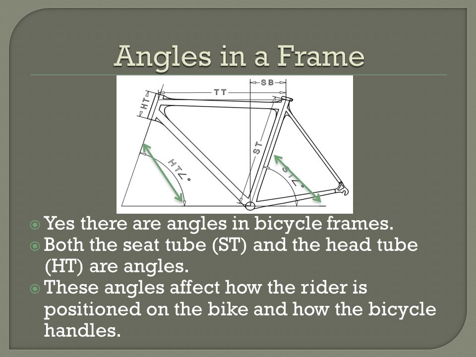 Yes there are angles in bicycle frames.