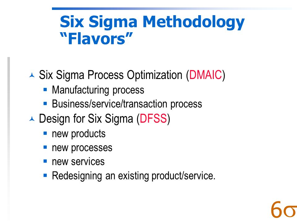  6 The Focus of Six Sigma: Fix Processes, Not Products Y Output Dep Variable Effect Symptom Monitor x 1, x 2, …, x n Inputs Indep Variables Root Causes Problems Fix & Control Output Y= f (Process Variables x 1, x 2, …, x n ) Many quality approaches focus on inspecting and fixing outputs (Y's, e.g., products) Six Sigma focuses on fixing and controlling key process variables (x's) which cause output defects