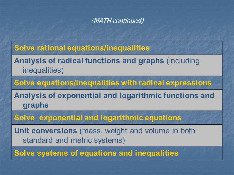 (MATH continued) Solve rational equations/inequalities Analysis of radical functions and graphs (including inequalities) Solve equations/inequalities with radical expressions Analysis of exponential and logarithmic functions and graphs Solve exponential and logarithmic equations Unit conversions (mass, weight and volume in both standard and metric systems) Solve systems of equations and inequalities