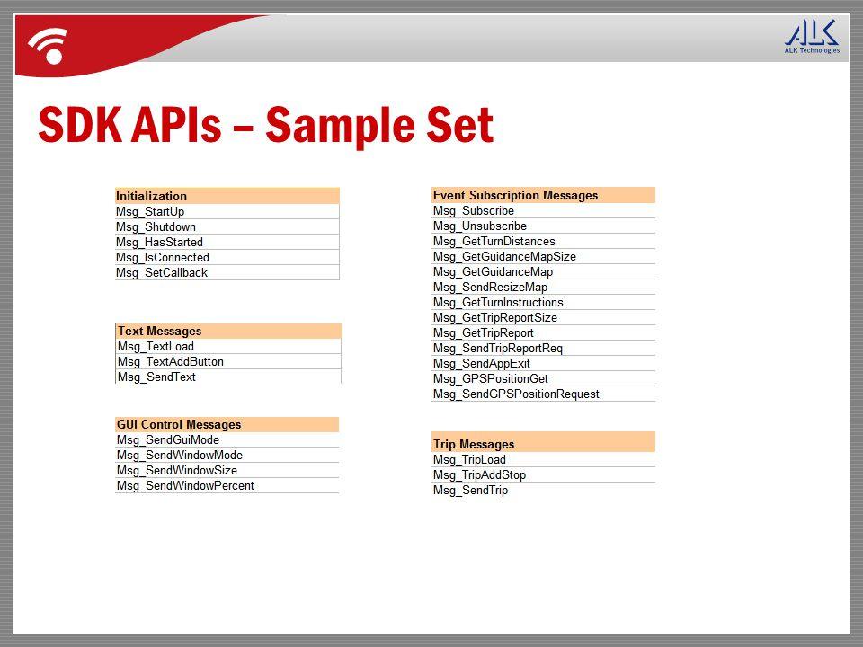 SDK APIs – Sample Set