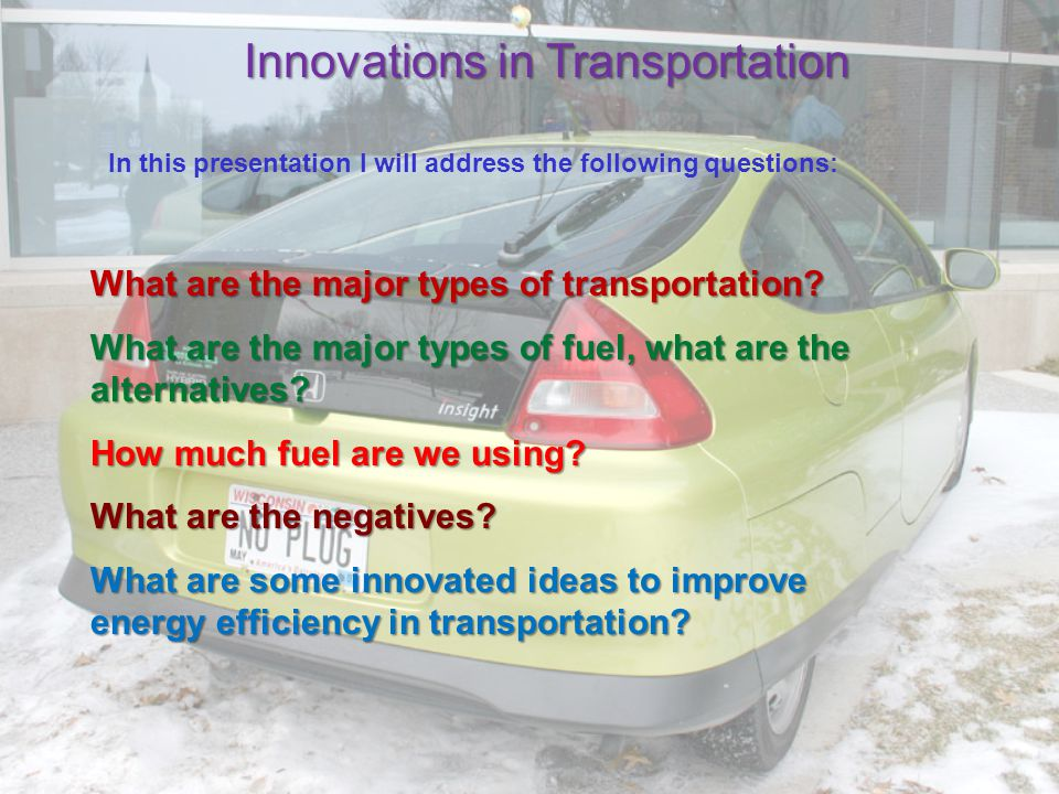 Transportation is such an important component to our modern lifestyle; relating to manufacturing, food supply, and leisure.